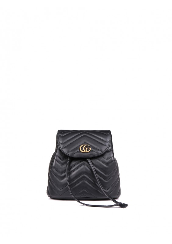 23dc189b30 Black Matelassé Leather GG Marmont Backpack by Gucci