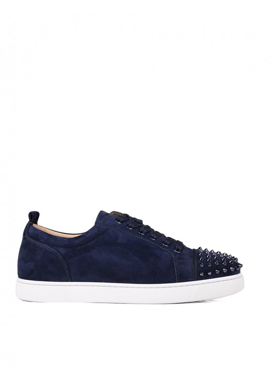 d237fbb7a249 Blu Suede Leather Louis Junior Spike Sneakers by Christian Louboutin
