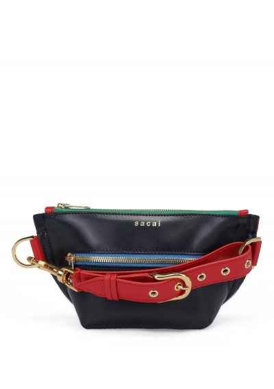 Trapezoid Colorblock Pouch Bag